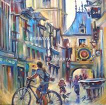 Description: Petits-velos-dans-la-rue-du-Gros-Horloge_ROUEN Auteur: Eugéniya Zharaya